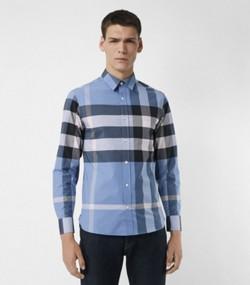 Chemise en coton extensible à motif check (Bleu Barbeau) f7ead87dcfe