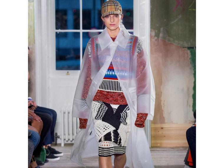 Knitted Wool Cross-panel Skirt in White/black - Women | Burberry - cell image 4