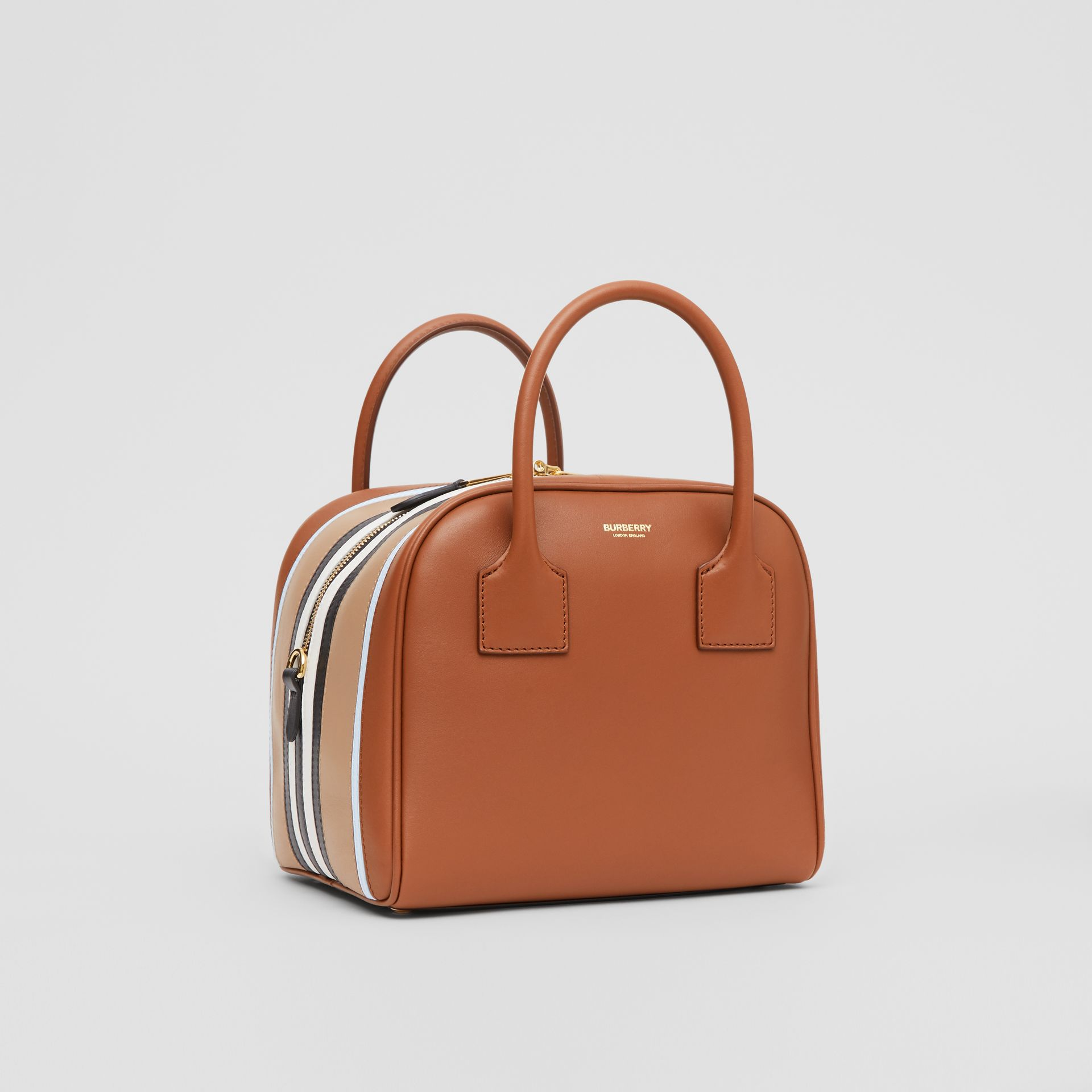 Small Stripe Intarsia Leather Cube Bag in Malt Brown/pale Blue - Women | Burberry - gallery image 6