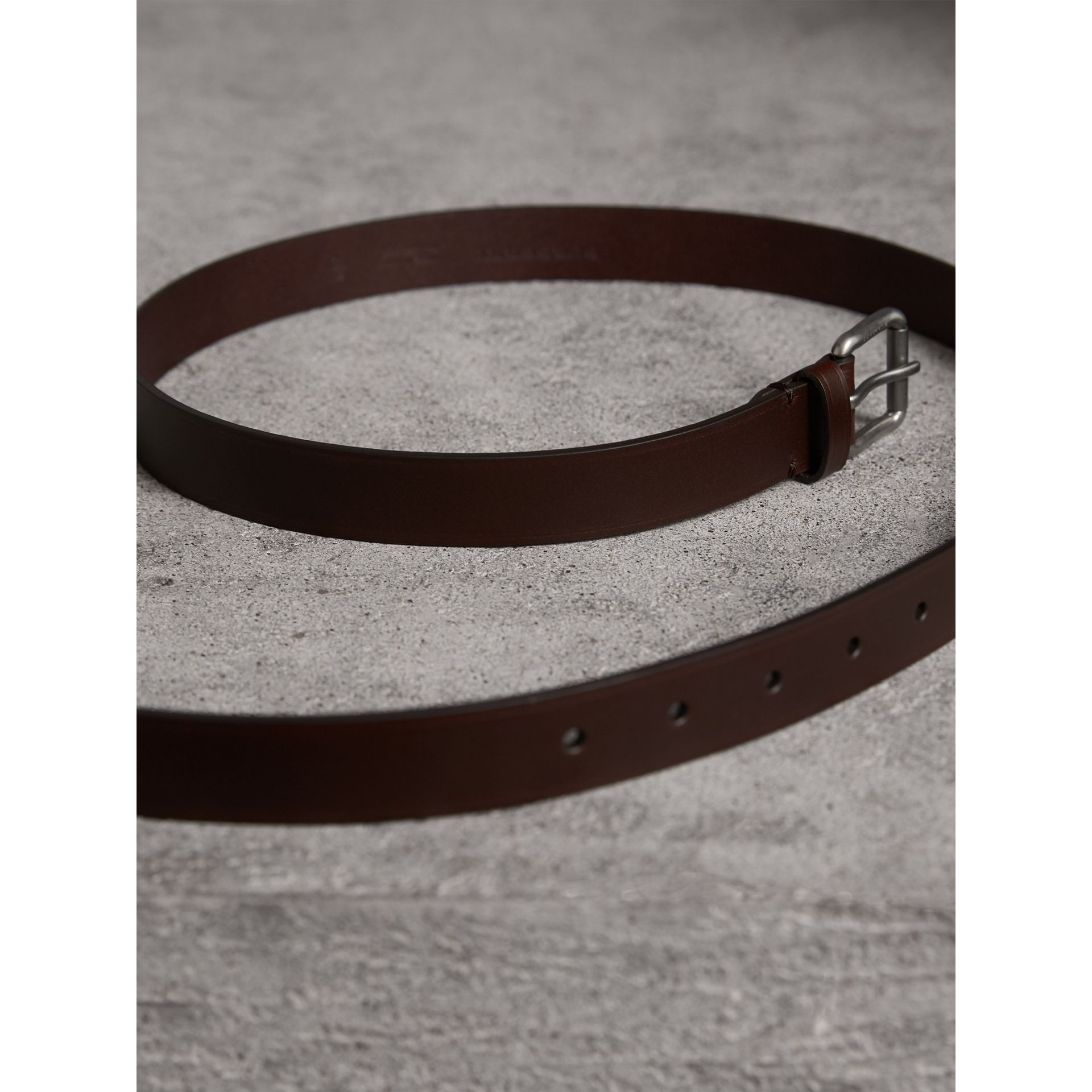 Smooth Leather Belt in Bitter Chocolate - Men | Burberry - gallery image 3