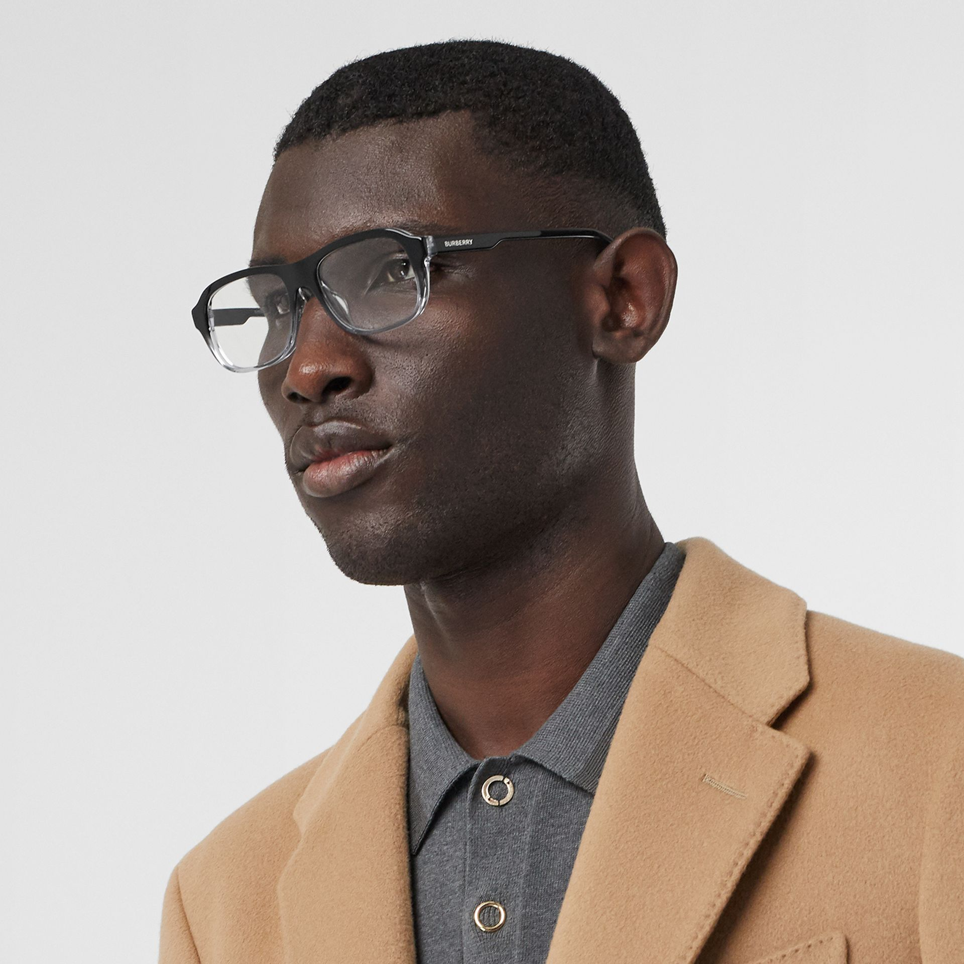 Gradient Detail Rectangular Optical Frames in Black - Men | Burberry United Kingdom - gallery image 2