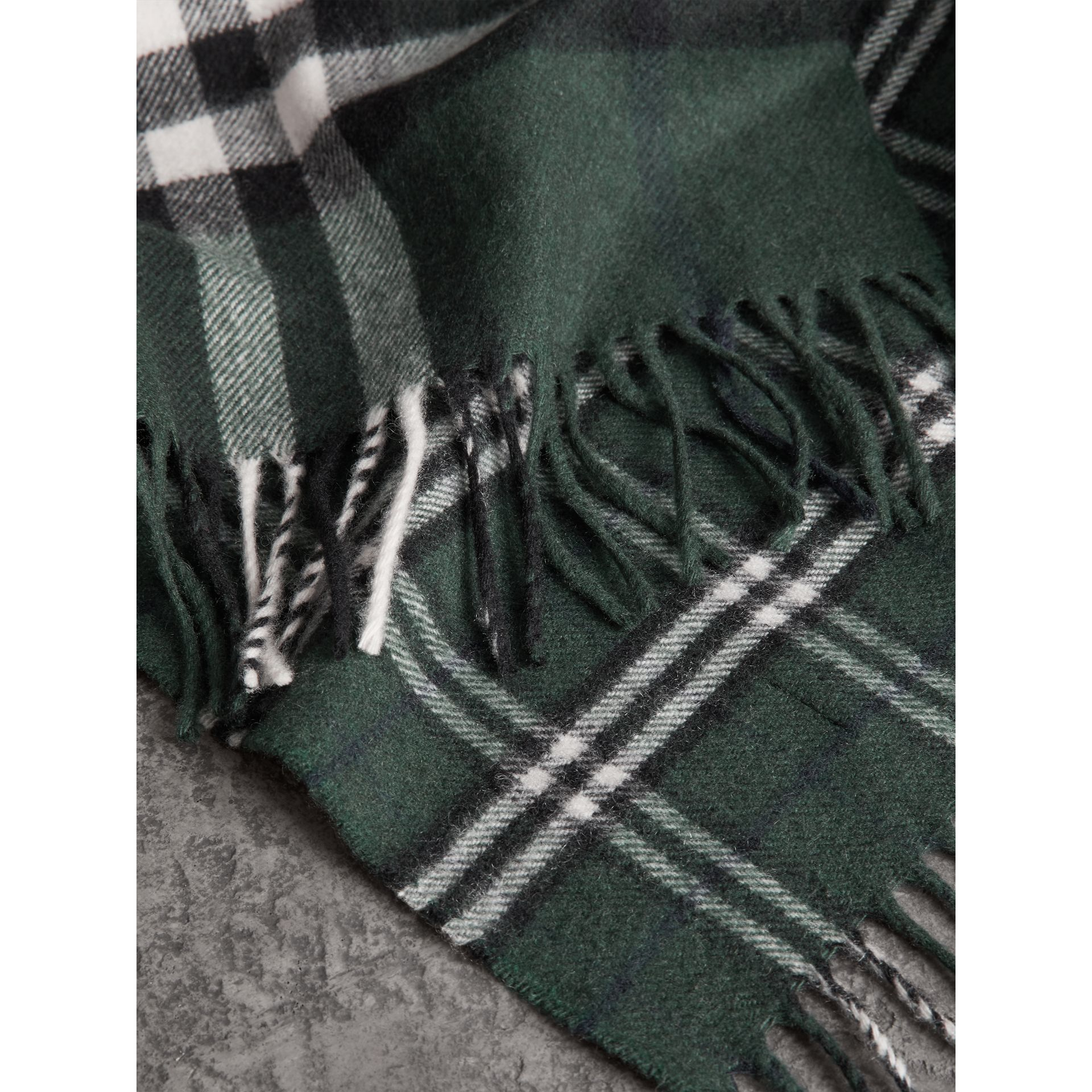 Gosha x Burberry Check Cashmere Double Scarf in Dark Forest Green | Burberry - gallery image 6