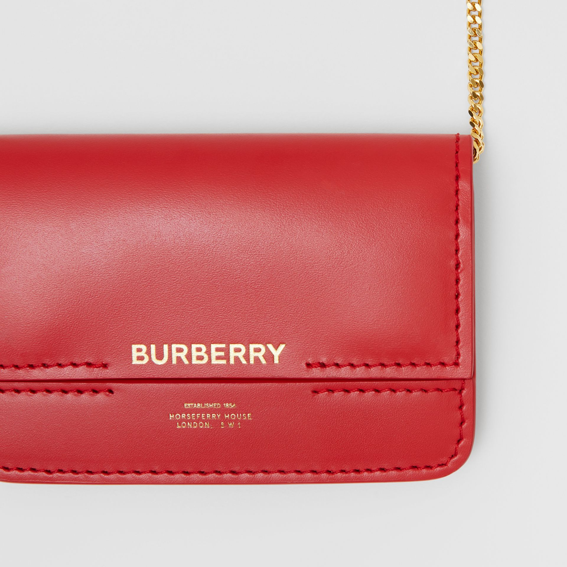 Two-tone Leather Card Case with Chain Strap in Red | Burberry - gallery image 1