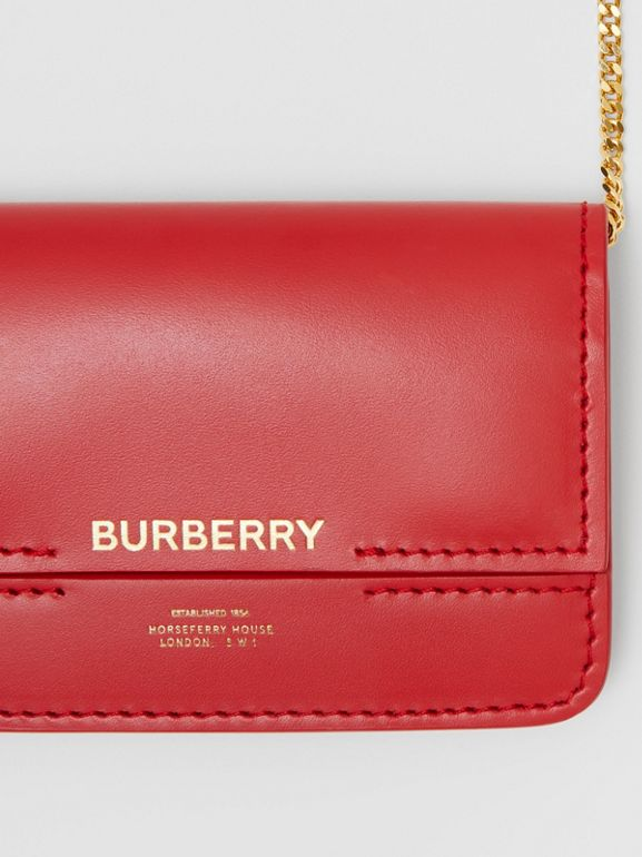 Two-tone Leather Card Case with Chain Strap in Red | Burberry - cell image 1