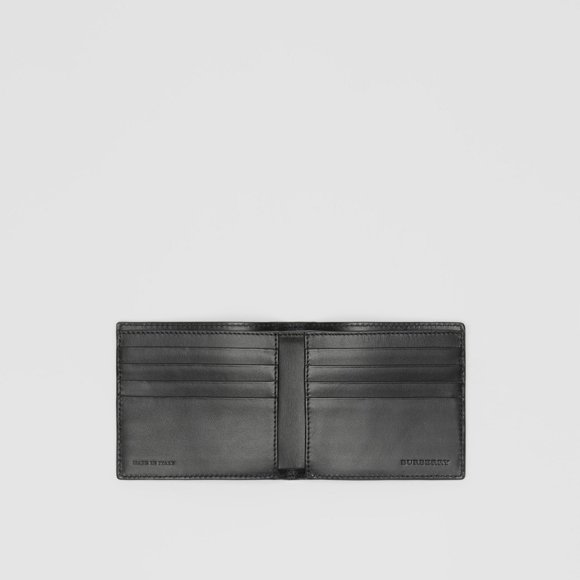 Contrast Logo Leather International Bifold Wallet in Storm Blue - Men | Burberry United Kingdom - gallery image 3