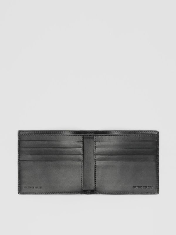 Contrast Logo Leather International Bifold Wallet in Storm Blue - Men | Burberry United Kingdom - cell image 3