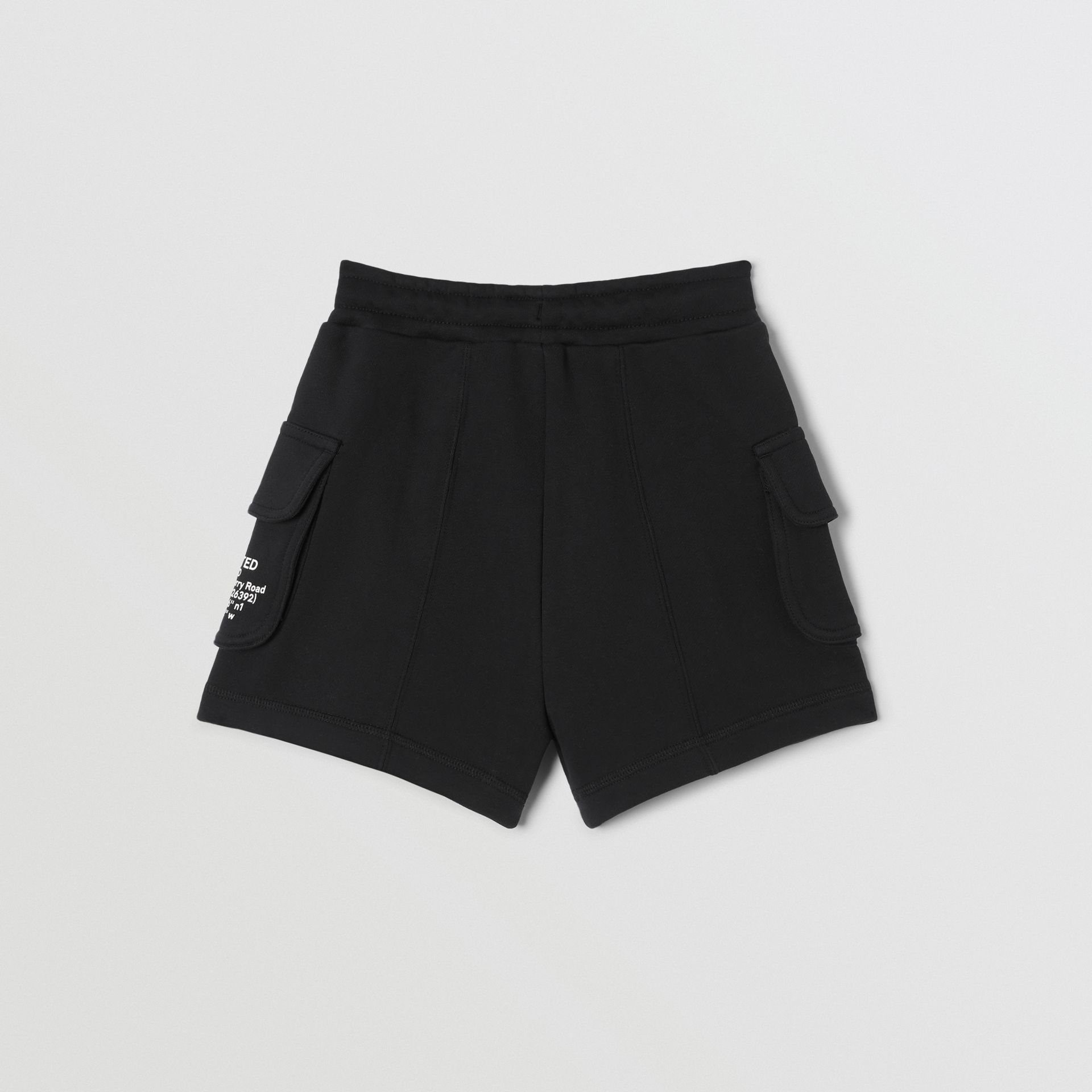 Location Print Cotton Drawcord Shorts in Black | Burberry - gallery image 4