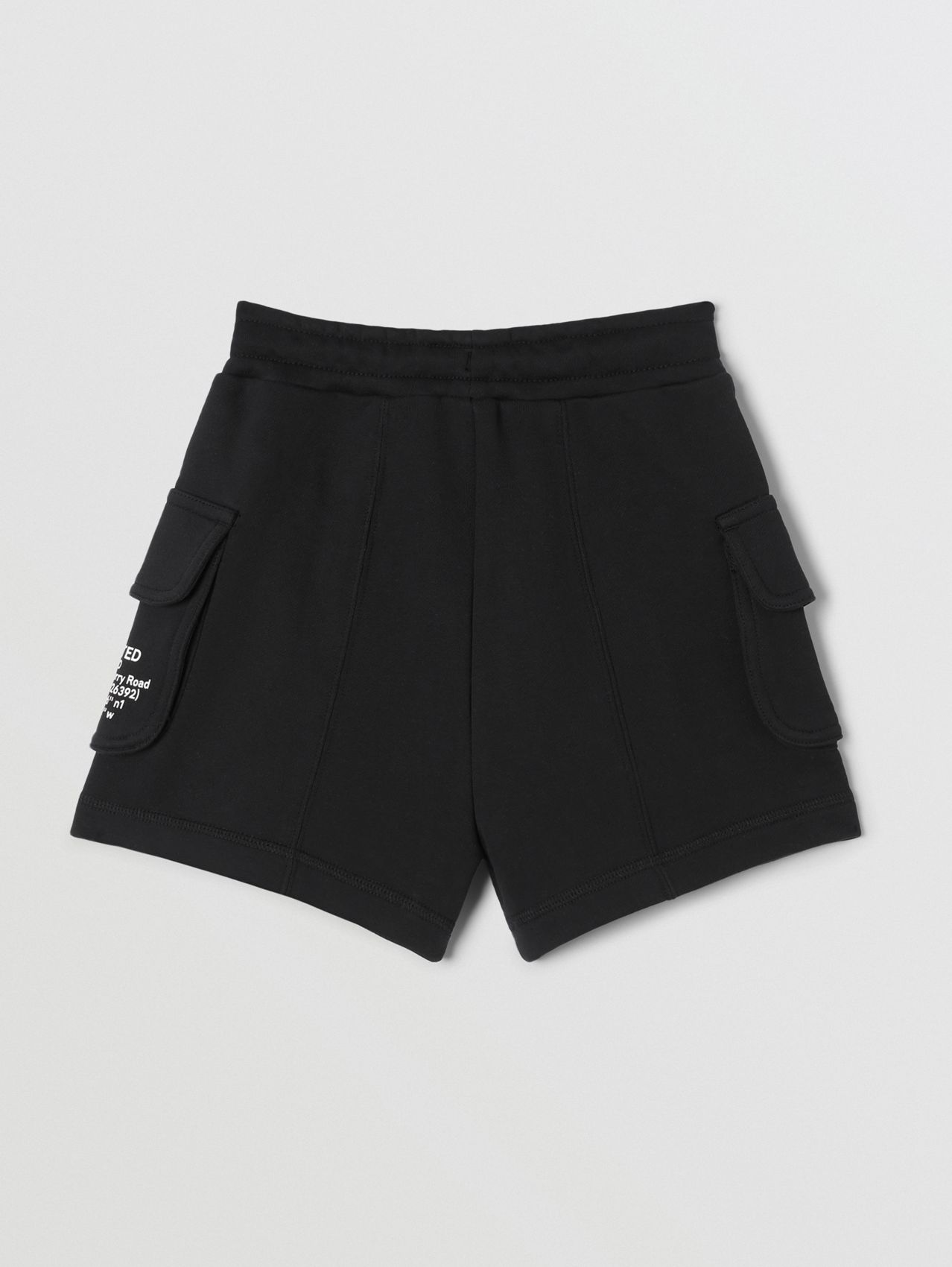 Location Print Cotton Drawcord Shorts in Black