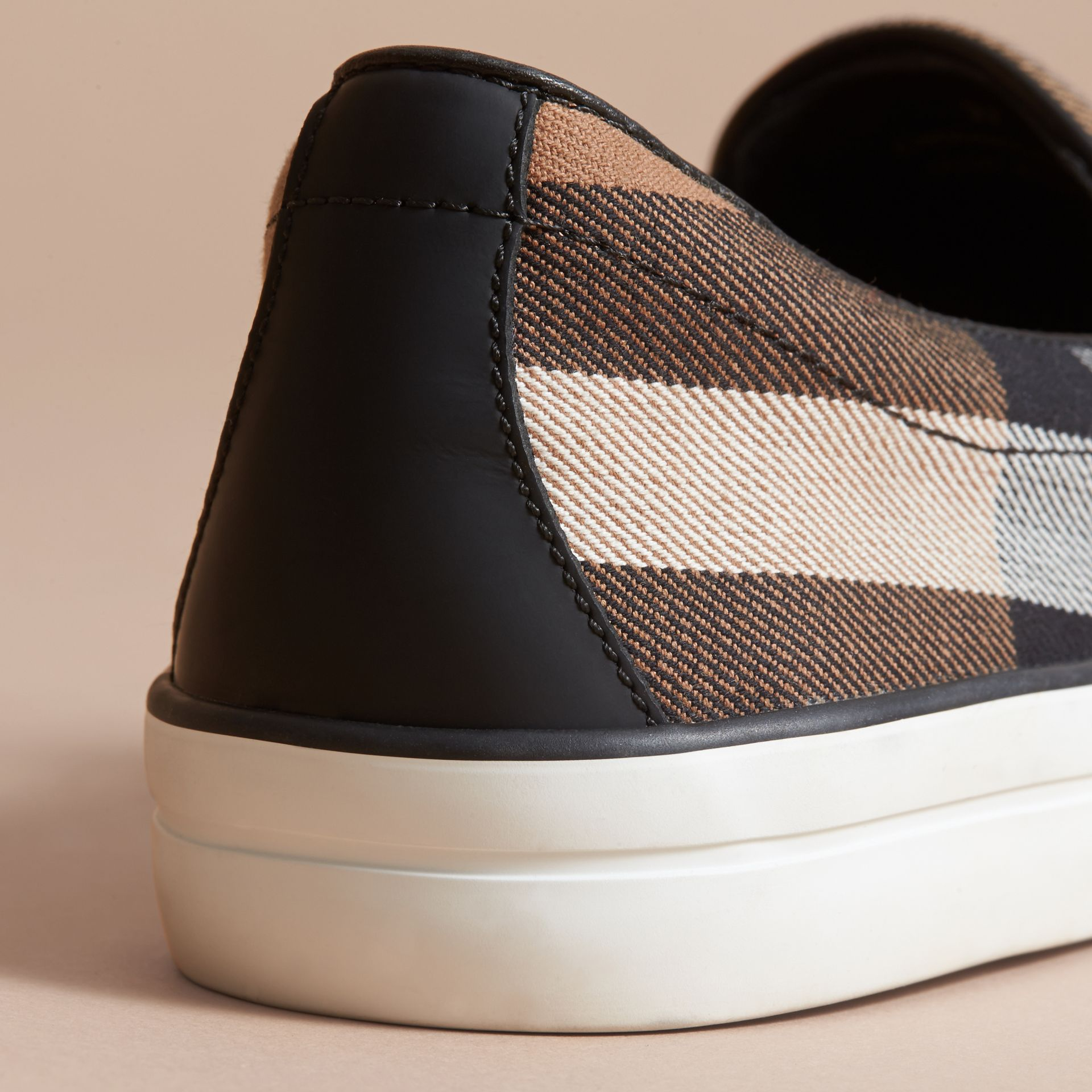 House Check and Leather Slip-on Sneakers in Classic - Women | Burberry - gallery image 4