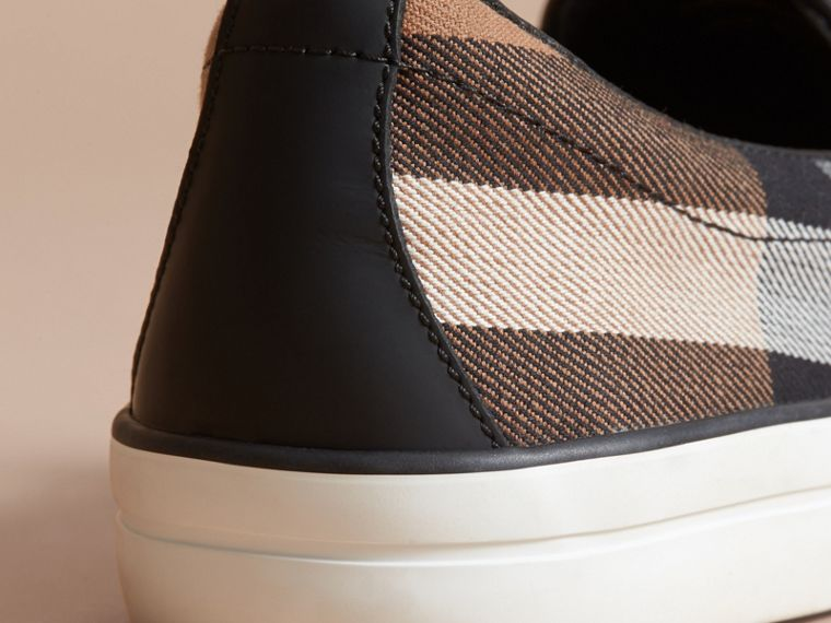 House Check Cotton and Leather Slip-on Trainers - Women | Burberry - cell image 4