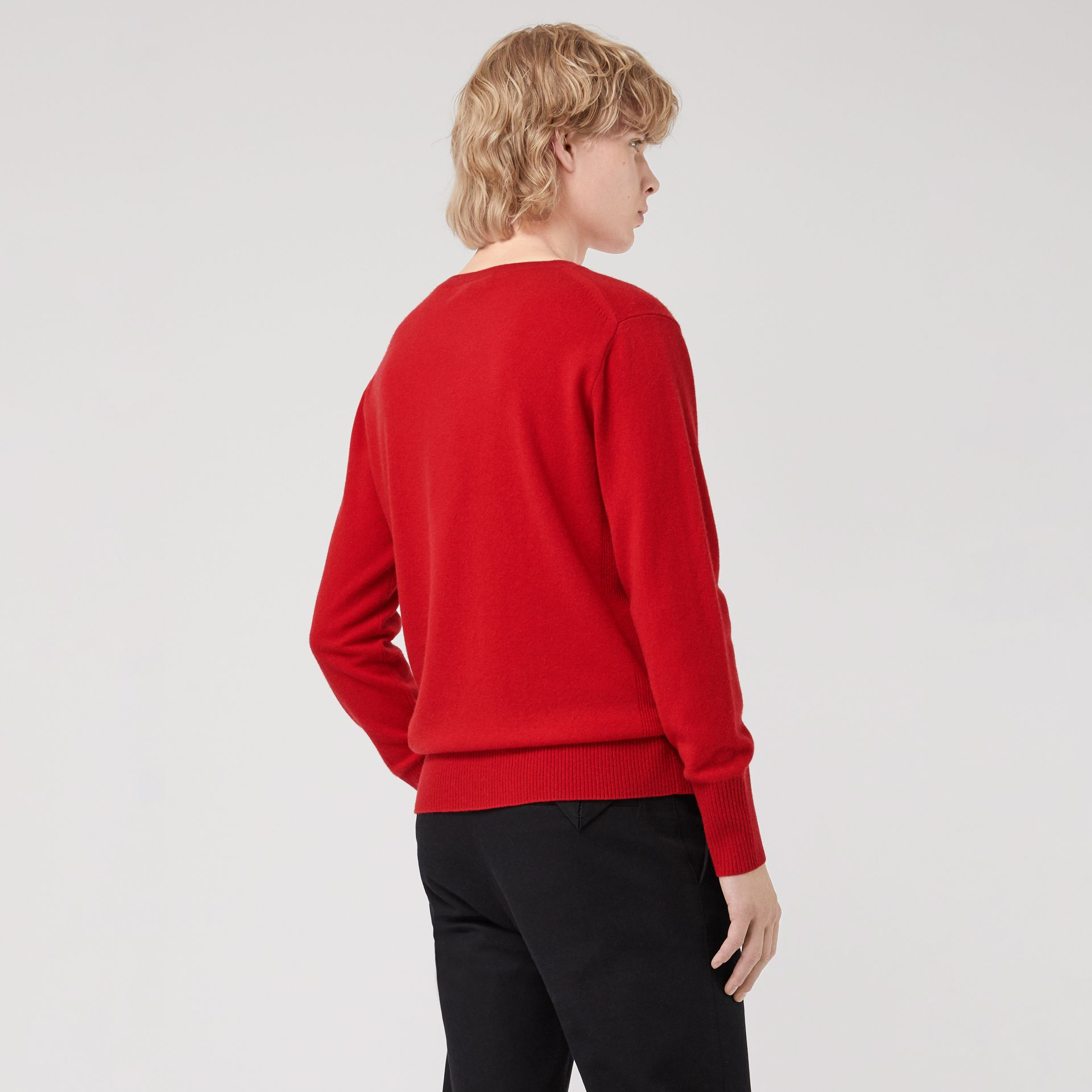Embroidered Archive Logo Cashmere Sweater in Bright Red - Men | Burberry United Kingdom - gallery image 2