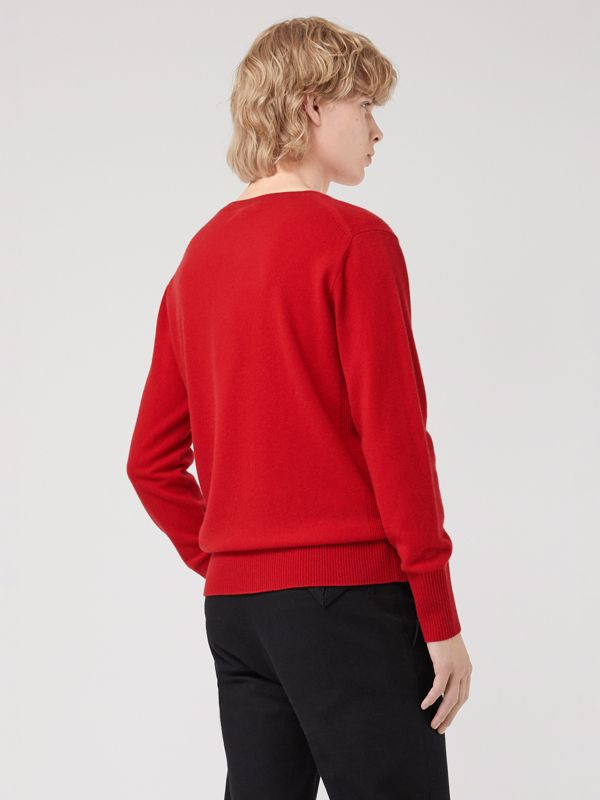 Embroidered Archive Logo Cashmere Sweater in Bright Red - Men | Burberry Singapore - cell image 2