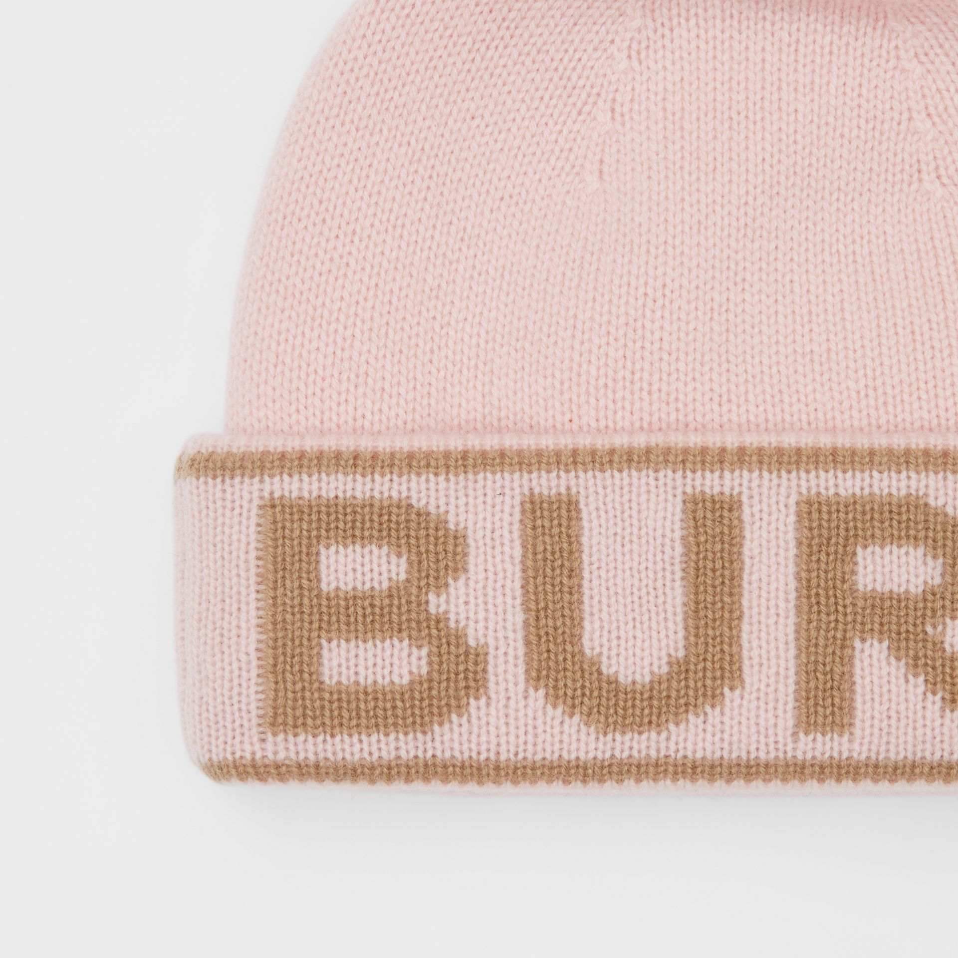 Logo Intarsia Cashmere Beanie in Candy Pink | Burberry - gallery image 1