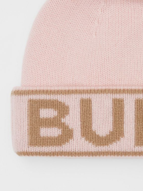 Logo Intarsia Cashmere Beanie in Candy Pink | Burberry - cell image 1