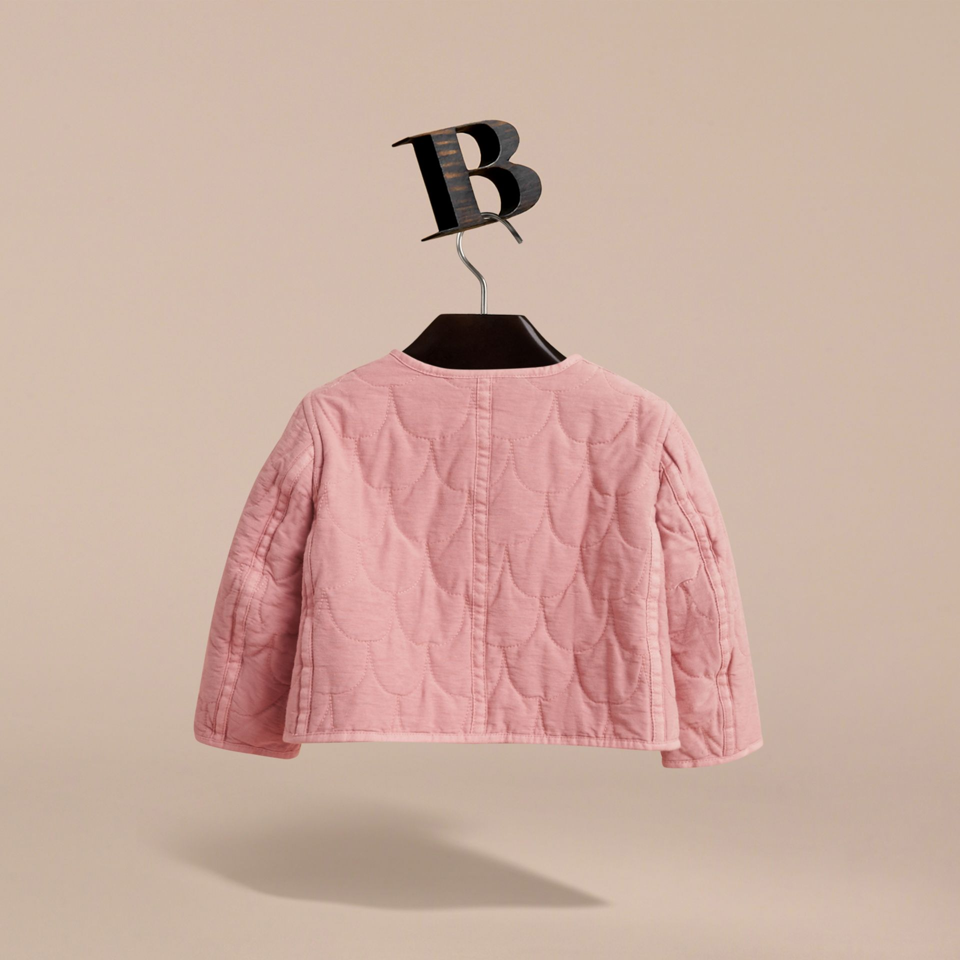 Quilted Collarless Cotton Blend Jacket - gallery image 4