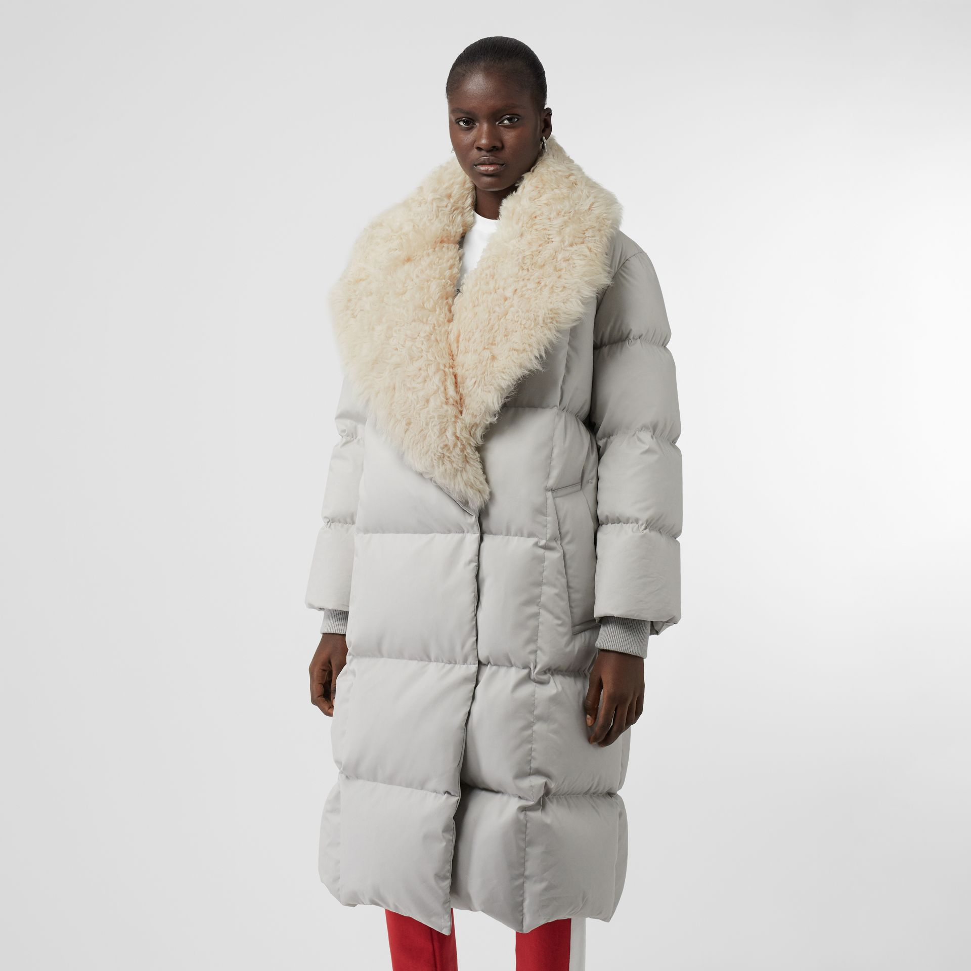 Detachable Shearling Collar Down-filled Puffer Coat in Pale Grey - Women | Burberry - gallery image 4