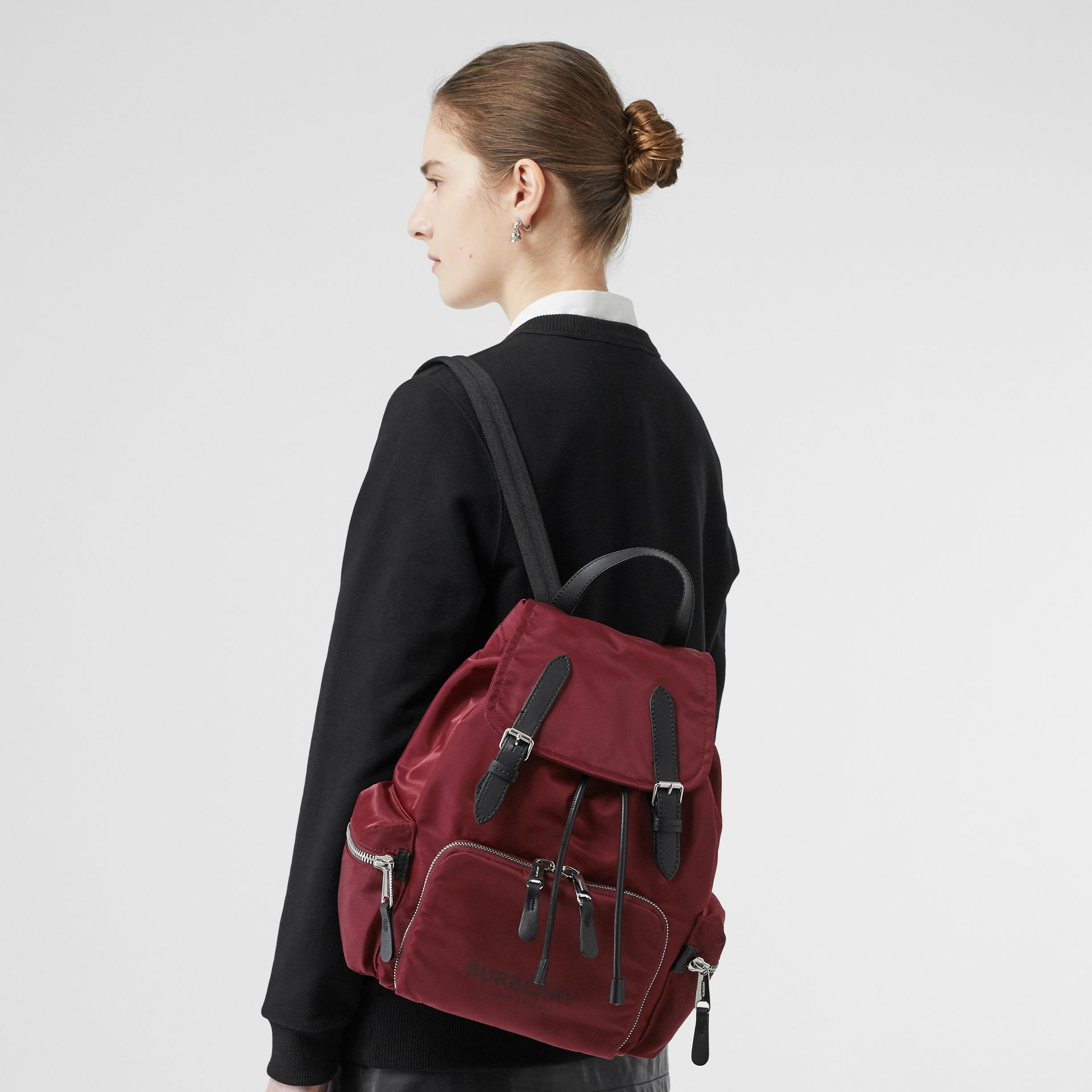 The Medium Rucksack in Logo Print Nylon in Burgundy - Women | Burberry Hong Kong - gallery image 2