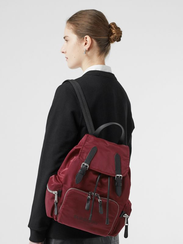 The Medium Rucksack in Logo Print Nylon in Burgundy - Women | Burberry - cell image 2