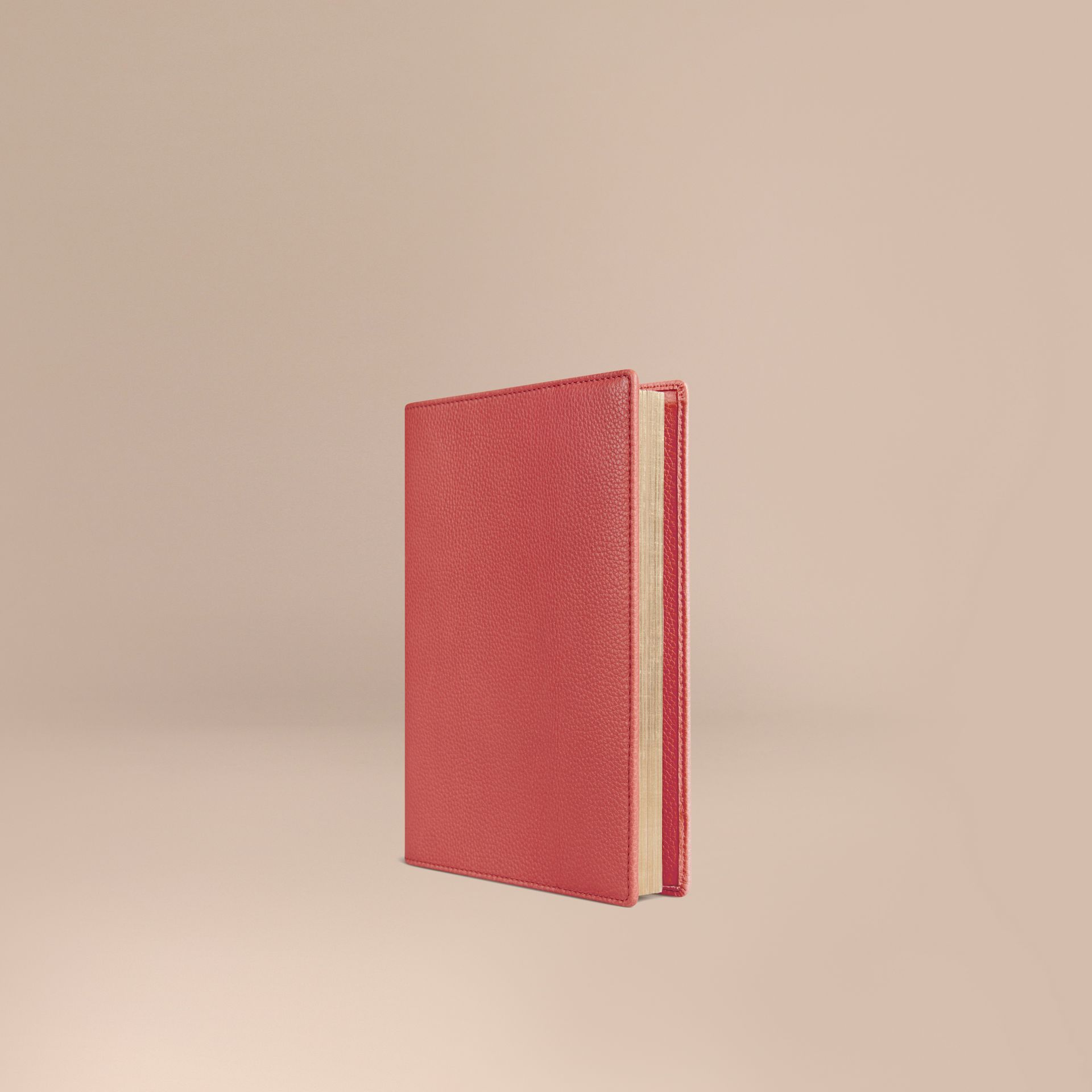 Grainy Leather A5 Notebook in Orange Red - gallery image 1