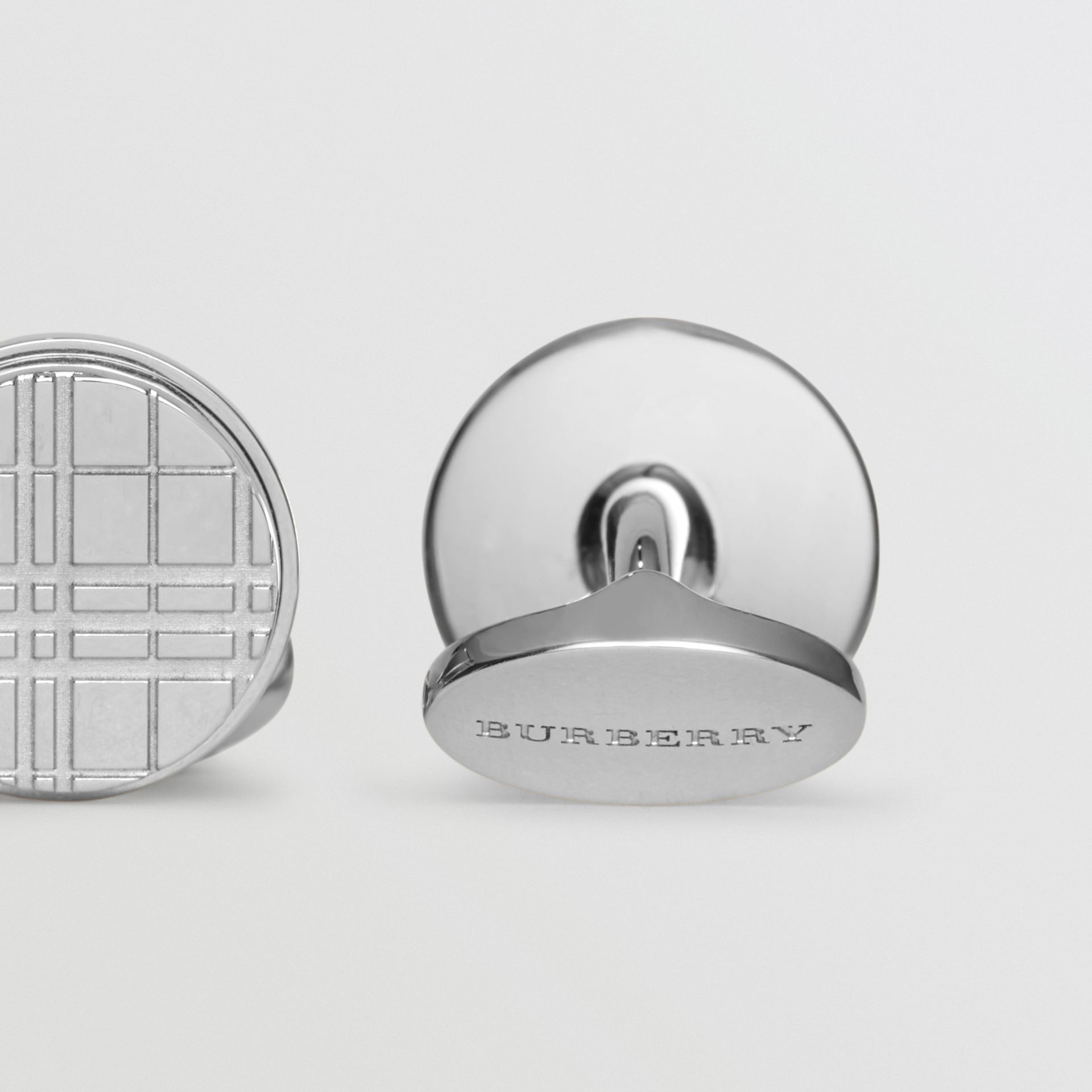 Check-engraved Round Cufflinks in Silver - Men | Burberry United Kingdom - gallery image 1