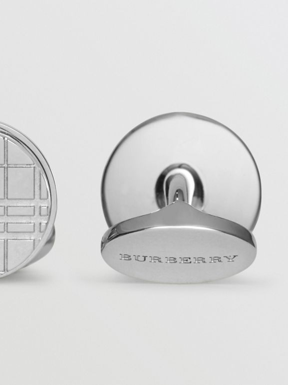 Check-engraved Round Cufflinks in Silver - Men | Burberry - cell image 1