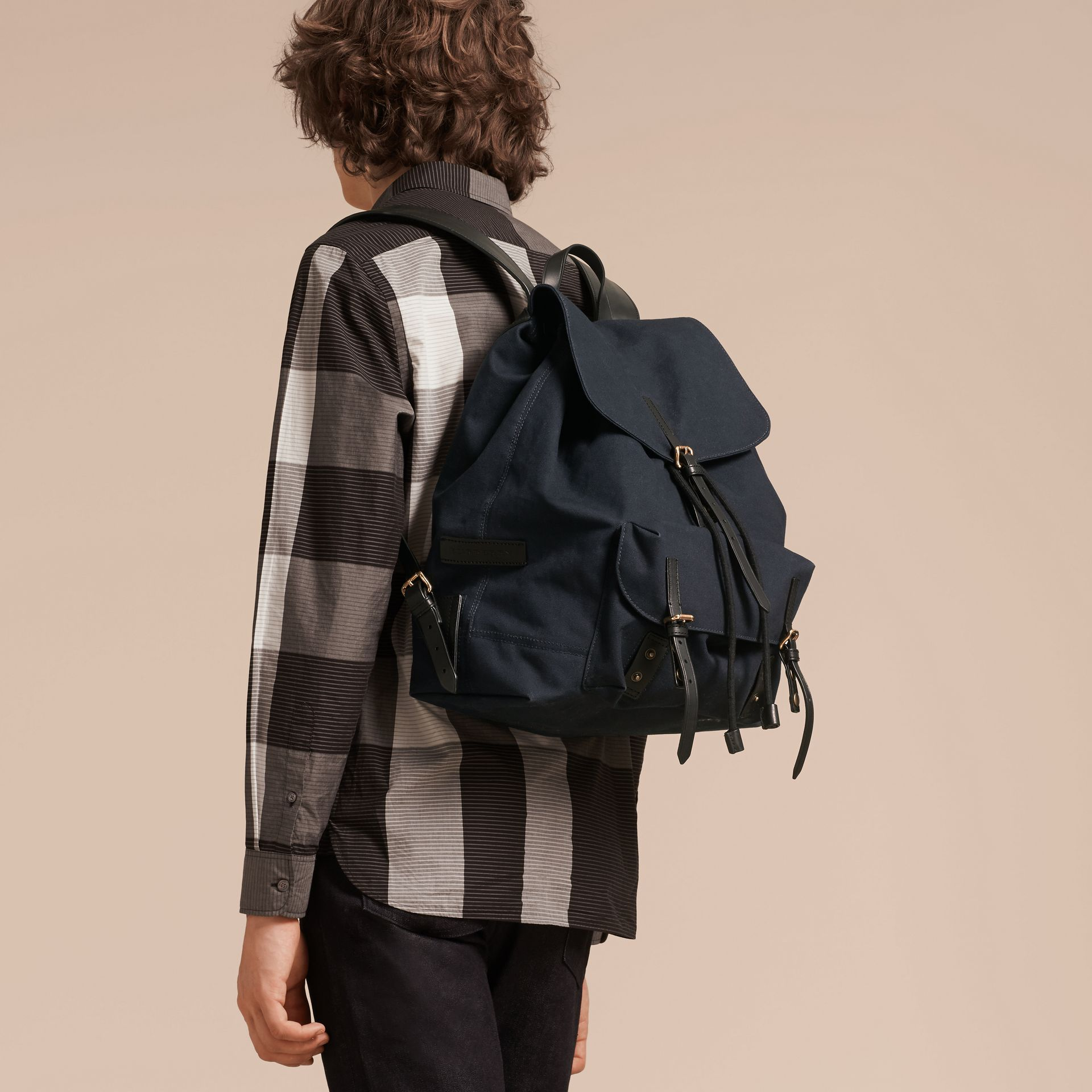 Deep navy Cotton Canvas Backpack - gallery image 3