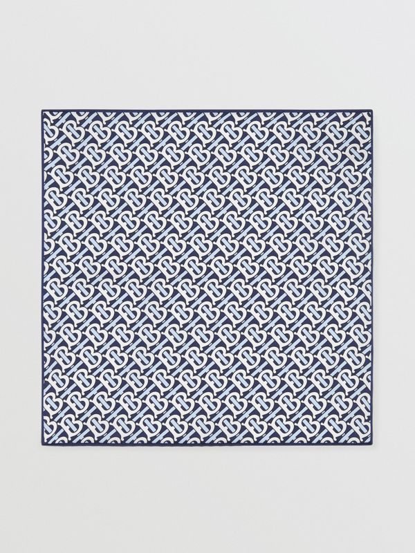 Monogram Print Silk Satin Pocket Square in Cobalt Blue - Men | Burberry - cell image 3