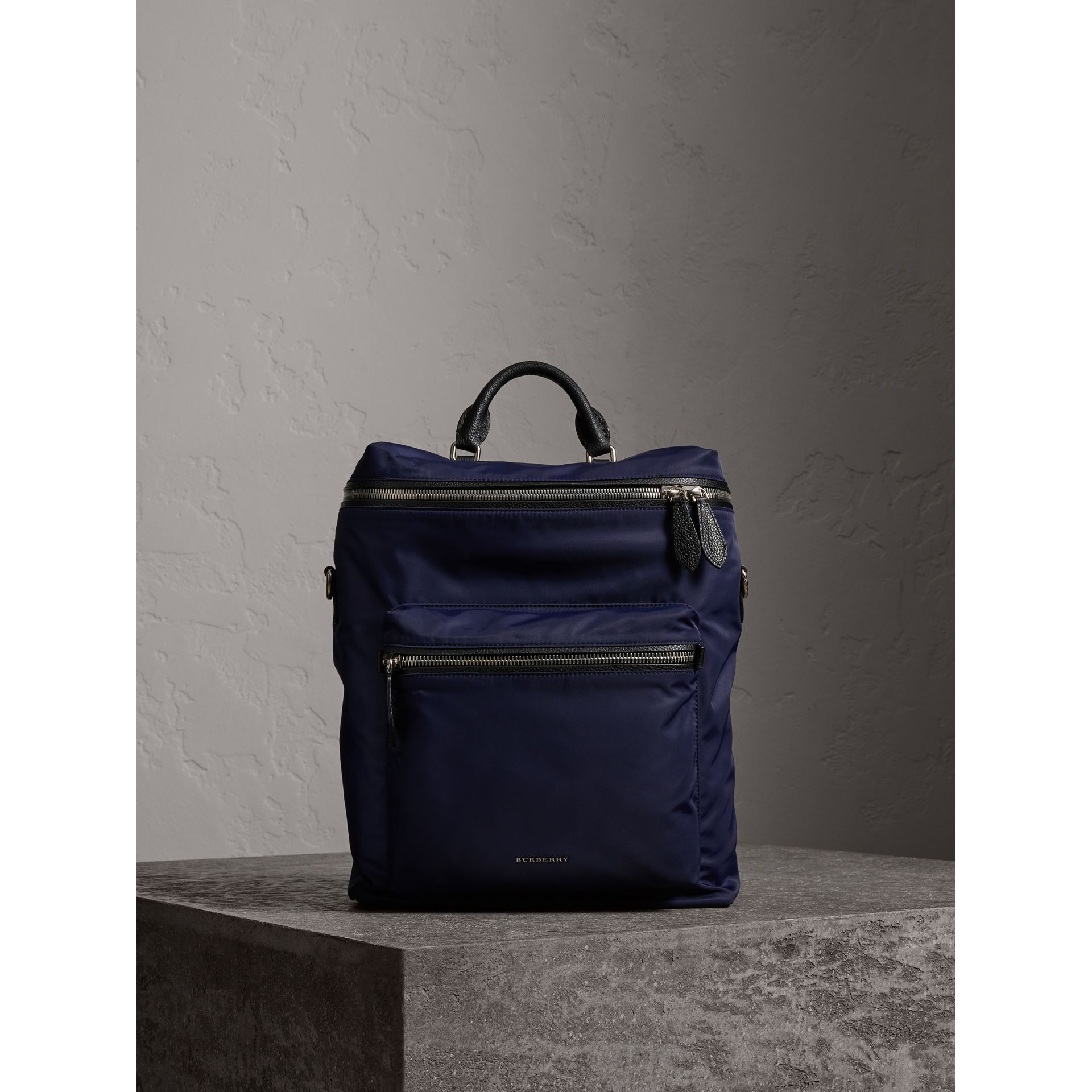 Zip-top Leather Trim Showerproof Backpack in Dark Navy - Men | Burberry - gallery image 1