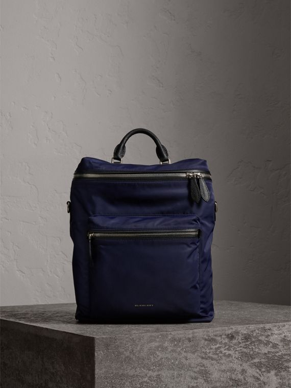 Zip-top Leather Trim Showerproof Backpack in Dark Navy