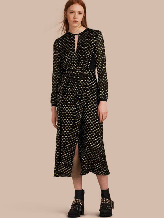 Metallic Polka Dot Long-sleeved Silk Dress