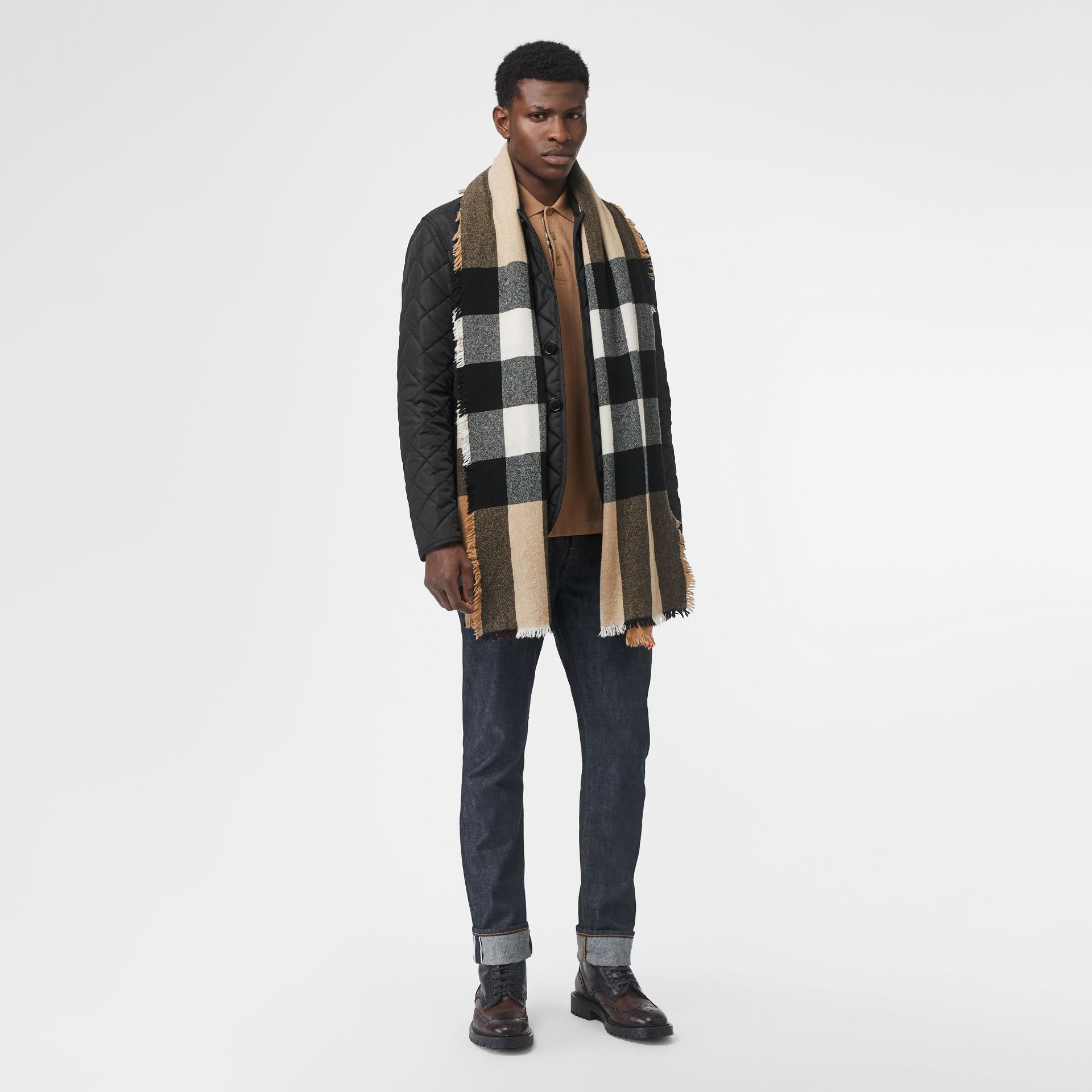 Fringed Check Wool Cashmere Scarf in Camel | Burberry - gallery image 6
