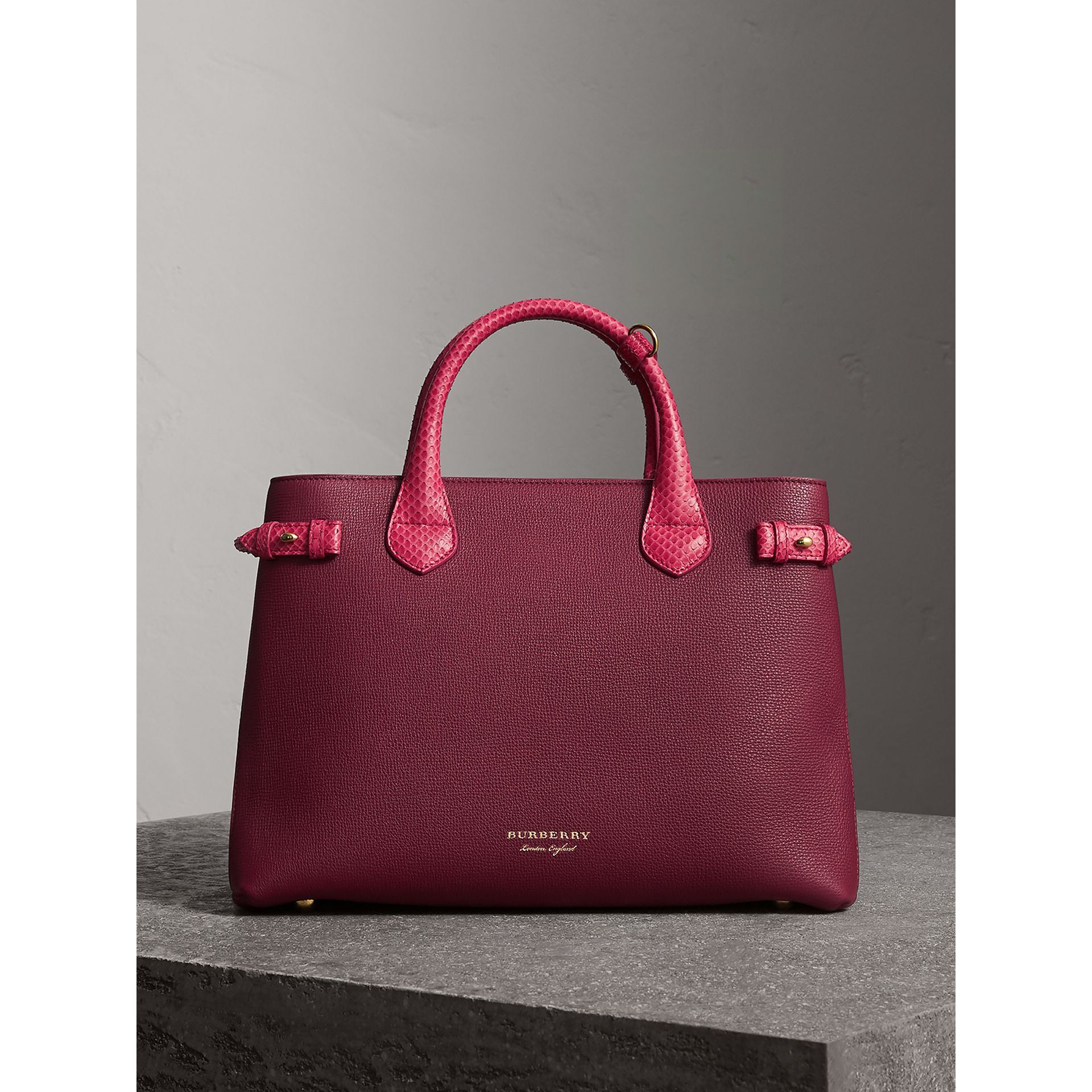 The Medium Banner in Leather and Snakeskin in Berry Pink - Women | Burberry - gallery image 7