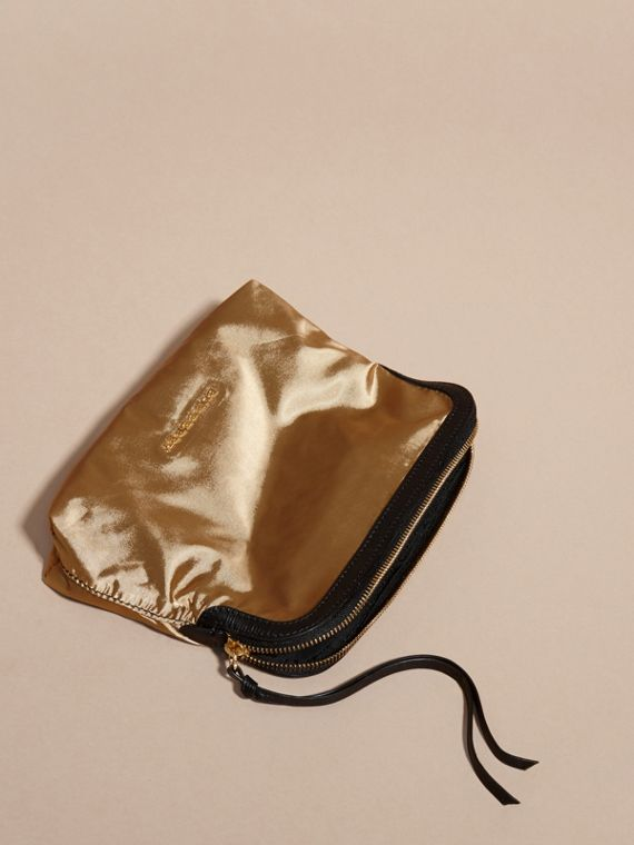 Gold/black Large Zip-top Leather-trimmed Technical Nylon Pouch - cell image 2