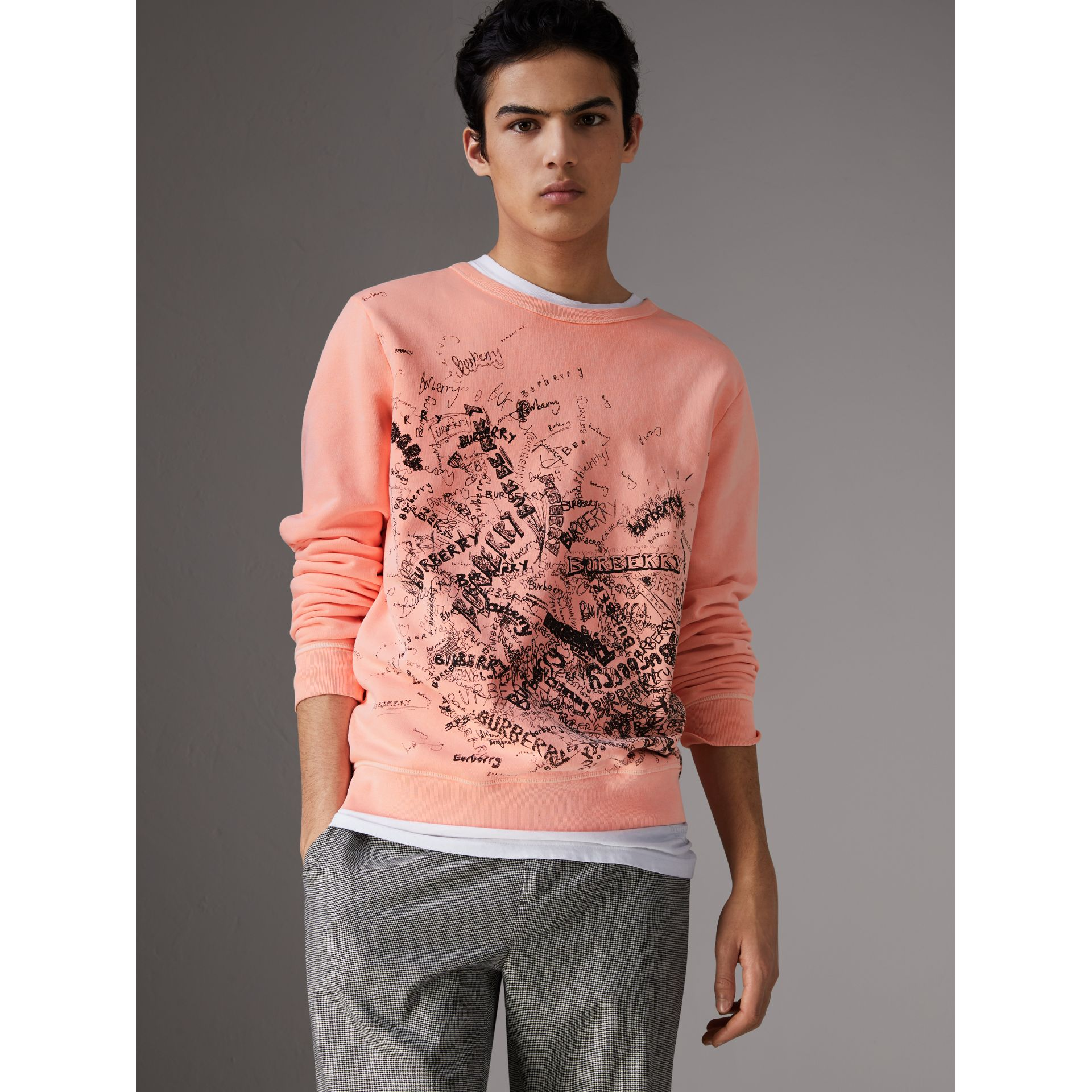 Doodle Print Cotton Sweater in Bright Clementine - Men | Burberry United Kingdom - gallery image 4