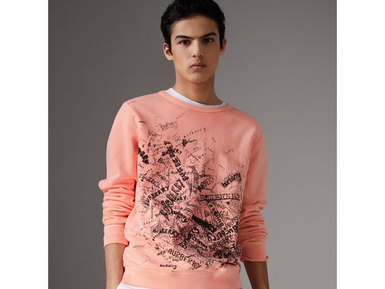 Doodle Print Cotton Sweater in Bright Clementine - Men | Burberry - cell image 4