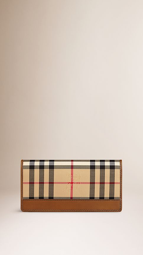 Tan Horseferry Check Continental Wallet - Image 1