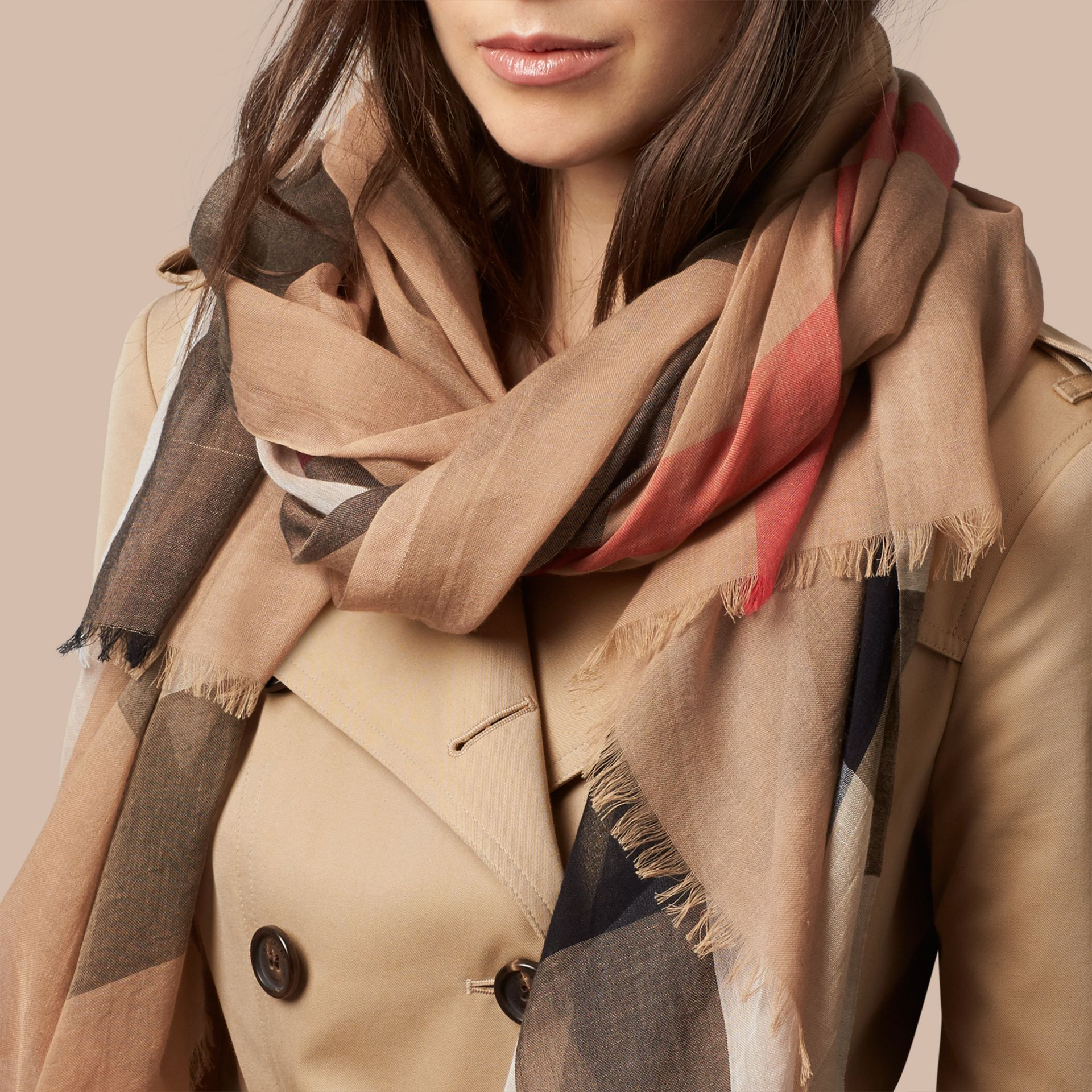 Check Modal Cashmere and Silk Scarf in Camel | Burberry Canada - gallery image 3