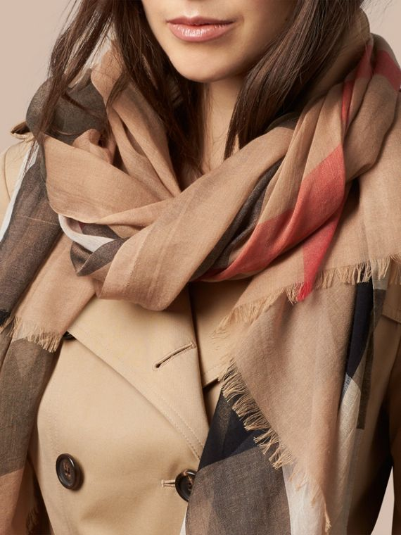 Check Modal Cashmere and Silk Scarf in Camel | Burberry - cell image 2