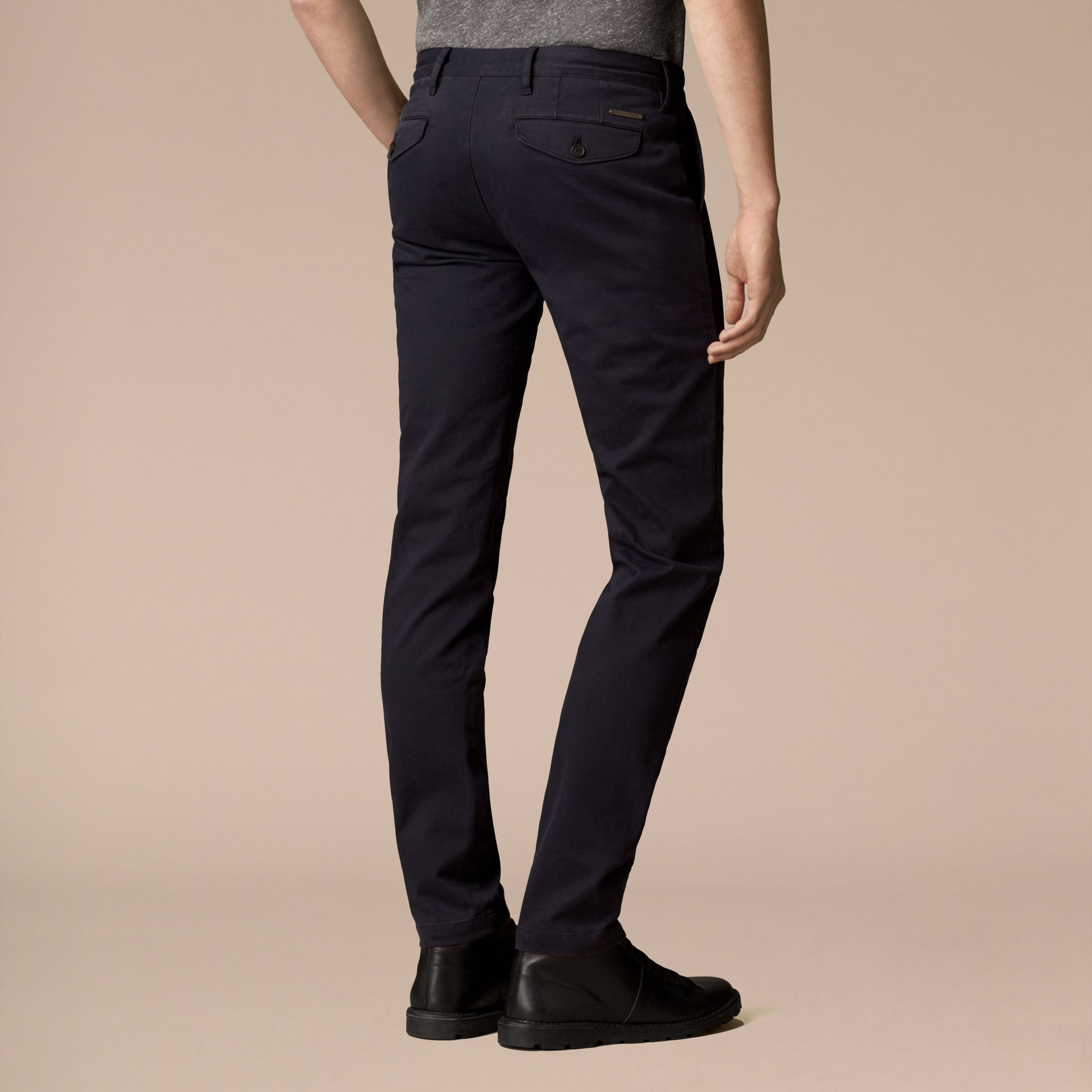 Navy Slim Fit Stretch-Cotton Twill Chinos Navy - gallery image 3