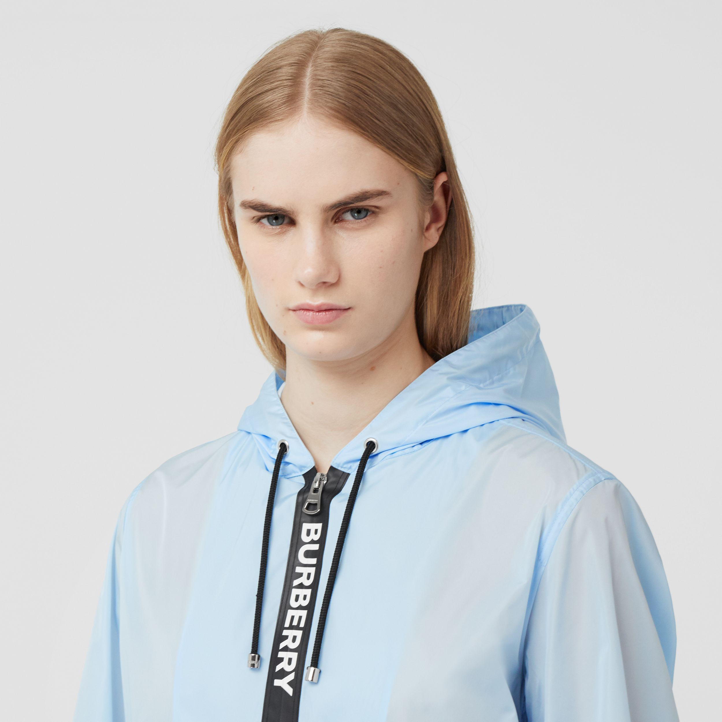 Logo Tape ECONYL® Hooded Jacket in Pale Blue - Women | Burberry - 2