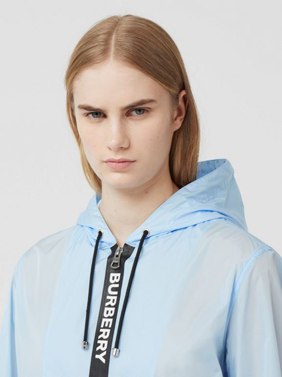 Logo Tape ECONYL® Hooded Jacket in Pale Blue - Women | Burberry Hong Kong S.A.R - cell image 1