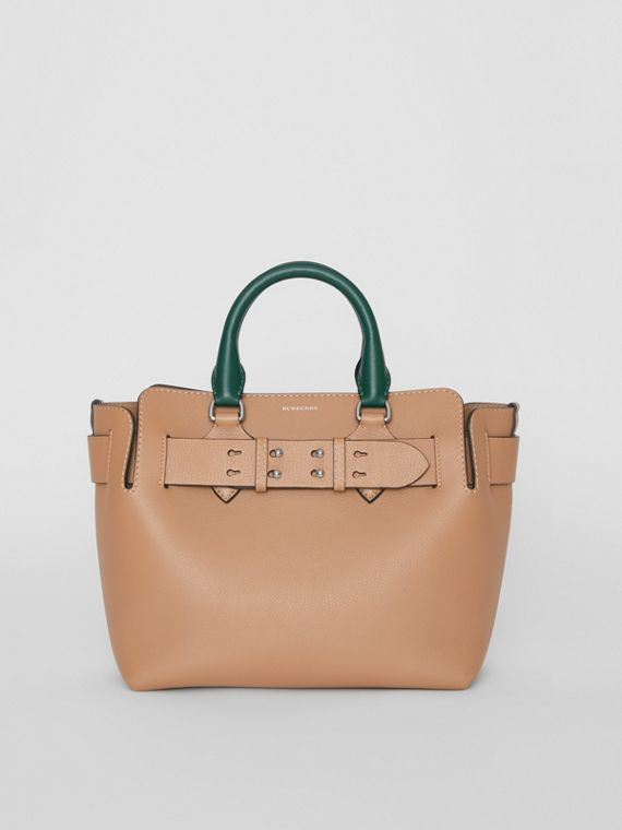 The Small Tri-tone Leather Belt Bag in Light Camel