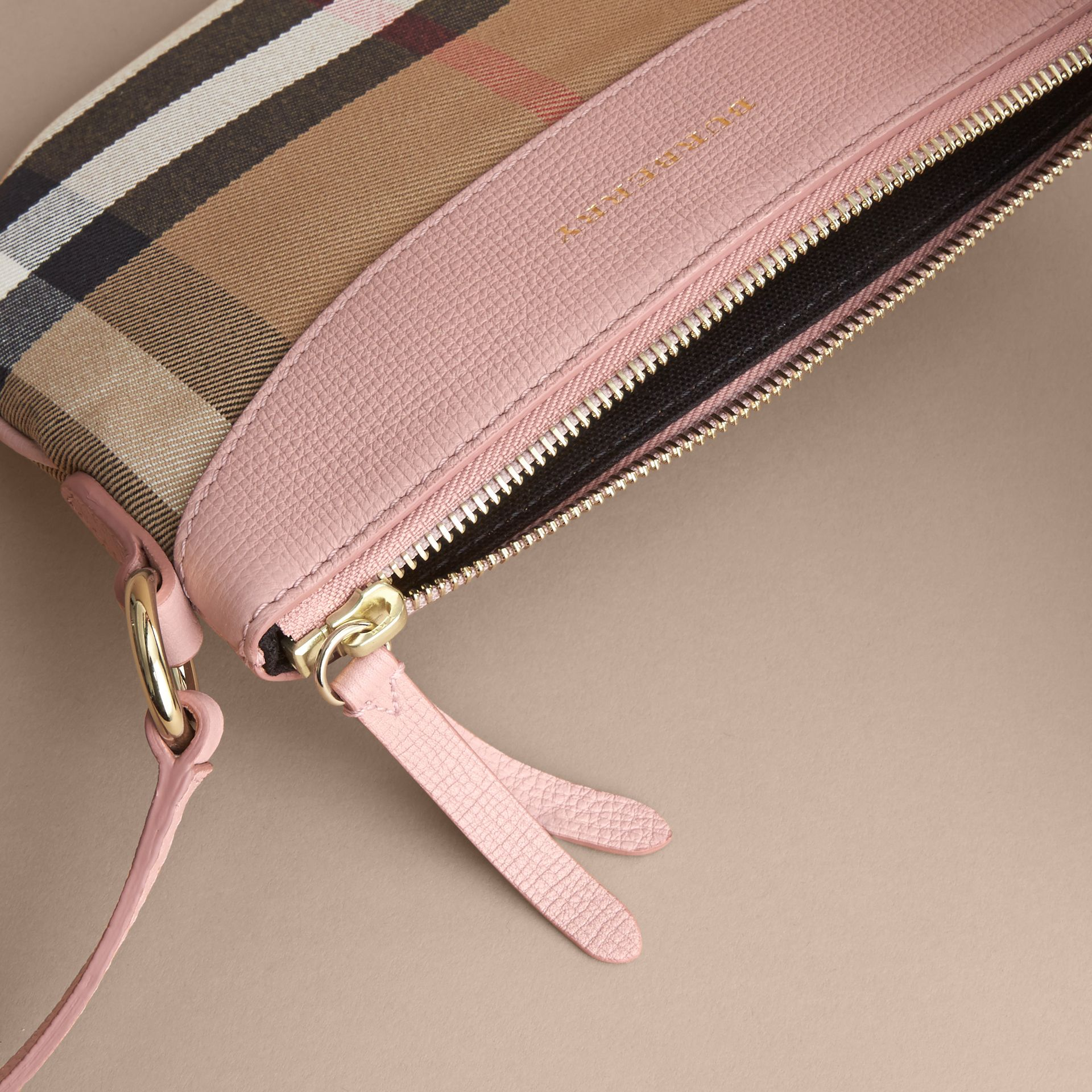 House Check and Leather Crossbody Bag in Pale Orchid | Burberry - gallery image 4