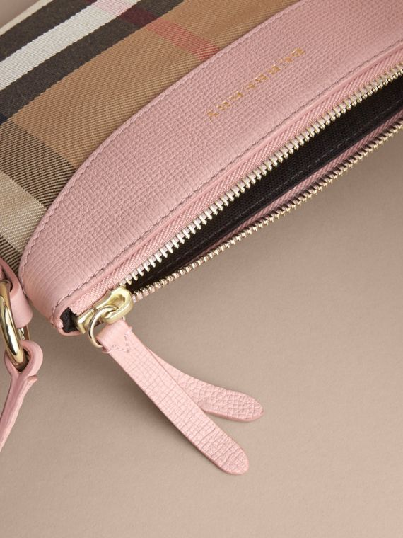 House Check and Leather Crossbody Bag in Pale Orchid | Burberry - cell image 3