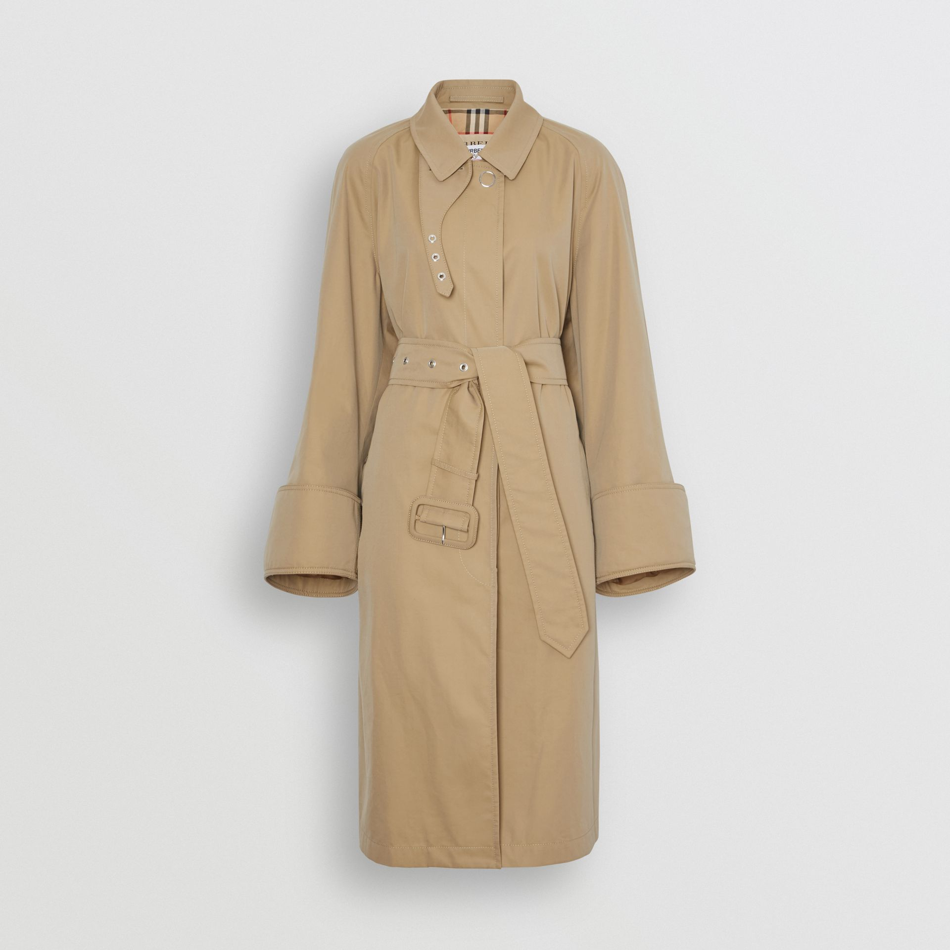 Exaggerated Cuff Cotton Gabardine Car Coat in Pale Honey - Women | Burberry - gallery image 3