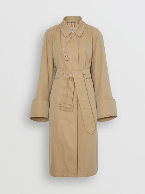 Exaggerated Cuff Cotton Gabardine Car Coat in Pale Honey - Women | Burberry - cell image 3