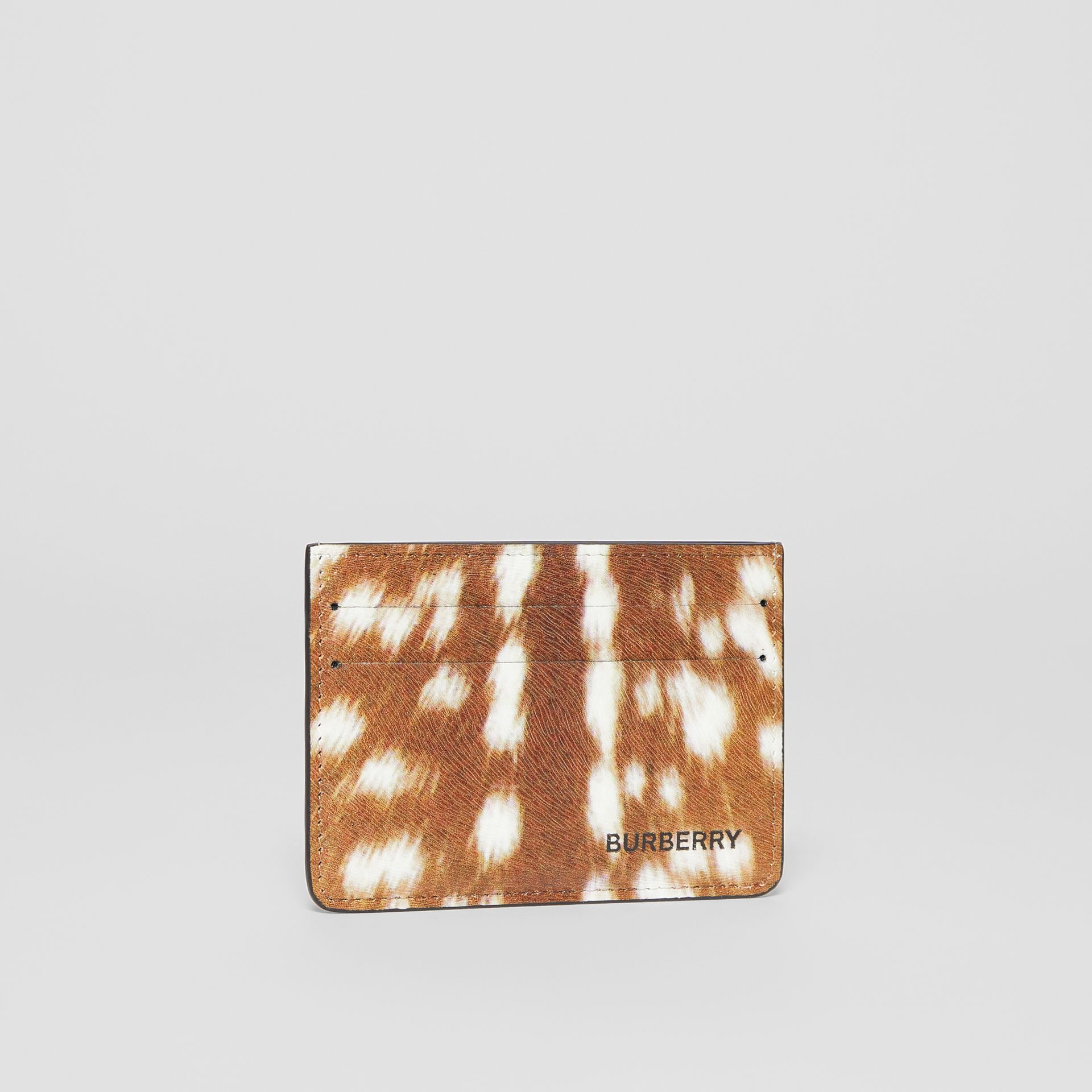 Deer Print Leather Card Case in Tan/white | Burberry - gallery image 3