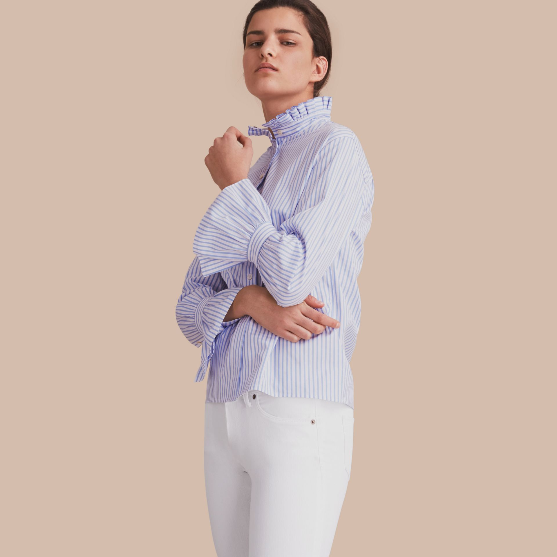 Ruffle Detail Striped Cotton Shirt - gallery image 1
