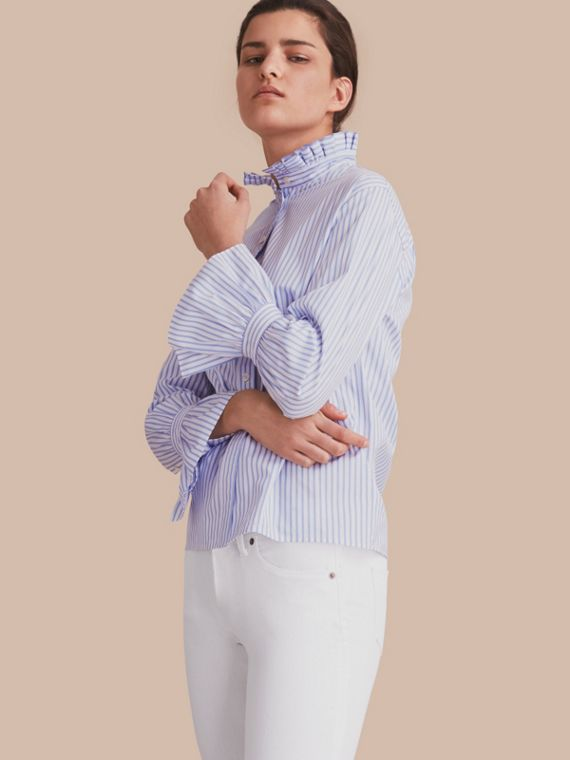Ruffle Detail Striped Cotton Shirt