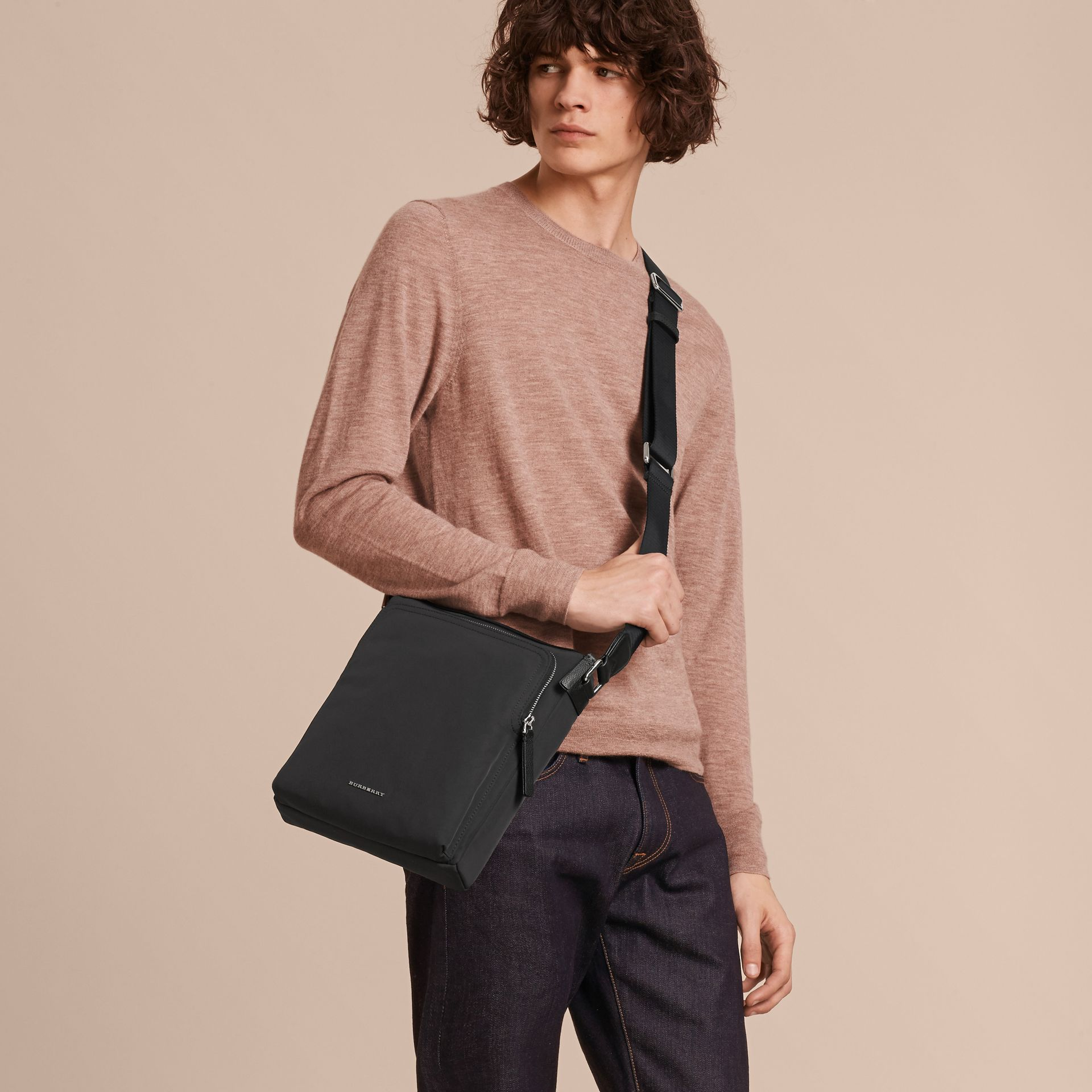 Small Technical Crossbody Bag with Leather Trim in Black - Men | Burberry Australia - gallery image 2